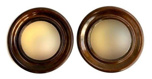 Pair of Antique Circular Mirrors / Wooden Mahogany Framed Wall Mirror Edwardian